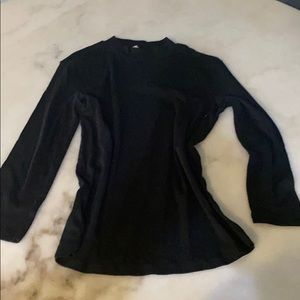Zara black long sleeved mock neck cotton shirt, M
